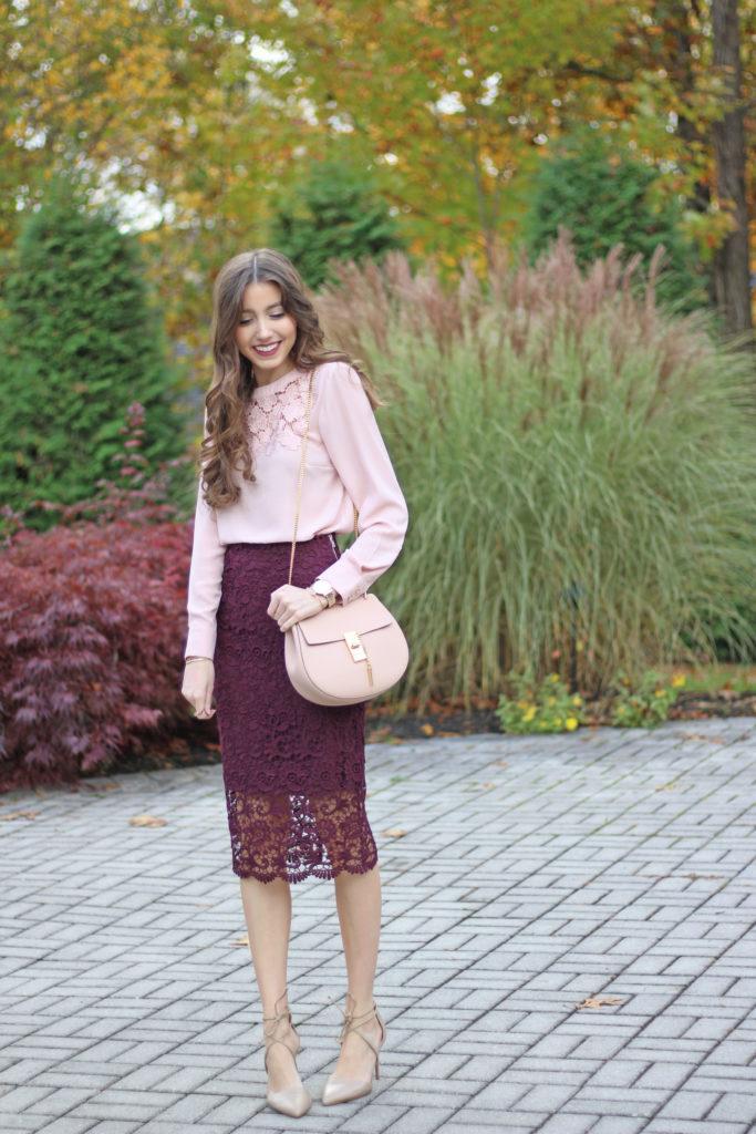 Lace Pencil Skirt Blush Top