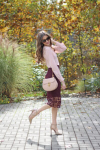 Lace Pencil Skirt + Blush Top