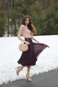 Pleated Midi Skirt + Cashmere Blend Sweater