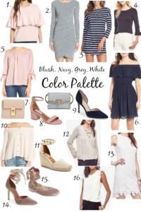 Blush, Grey, & Navy Color Palette