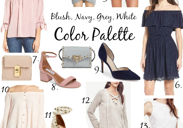 Blush, Grey, & Navy Color Palette