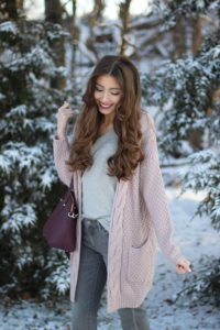 Everyday Winter Outfit {Grey + Dusty Rose}