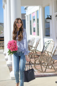 Dusty Pink Trench Coat + Bell Sleeve Blouse