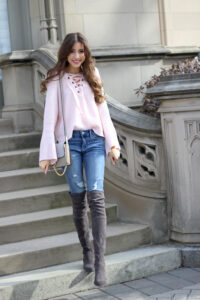 Blush Lace-Up Sweater