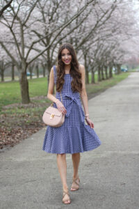 Ruffle-Hem Gingham Dress