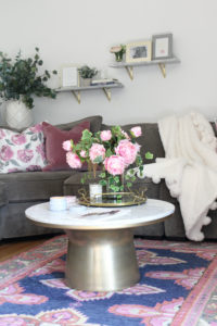 Living Room Tour | White, Gold, + Pink Floral Theme