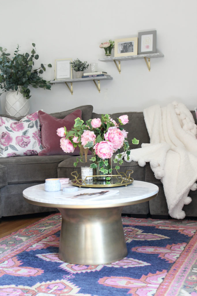 Living Room Tour | White, Gold, + Pink Floral Theme - Lace & Lashes