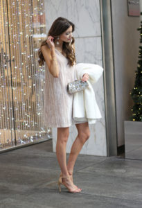 Girly Holiday Outfit (Crushed Velvet Dress Under $40)