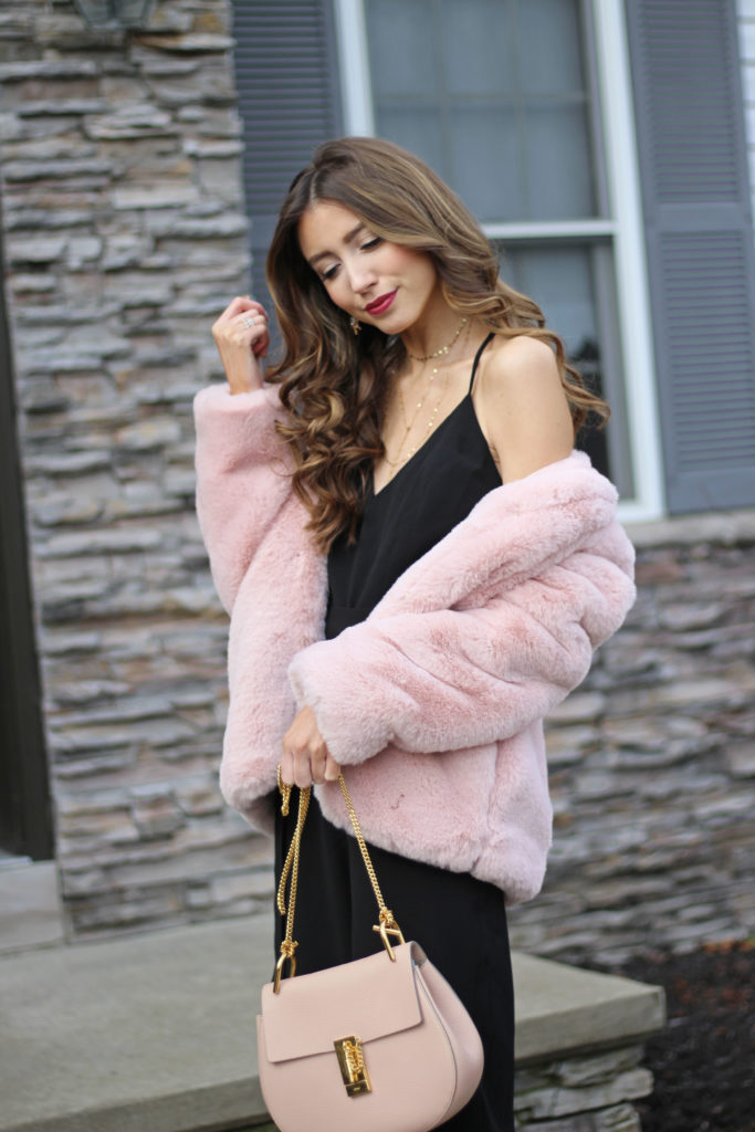 pink-faux-fur-jacket-black-jumpuit-holiday-outfit ...  sc 1 st  Lace u0026 Lashes & Glam Holiday Jumpsuit + Holiday Party Outfit Ideas - Lace u0026 Lashes