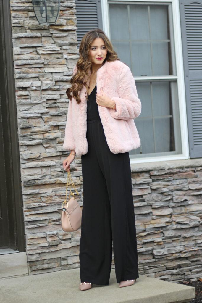 wayf-black-holiday-jumpsuit-chloe-drew-bag-faux-fur-jacket
