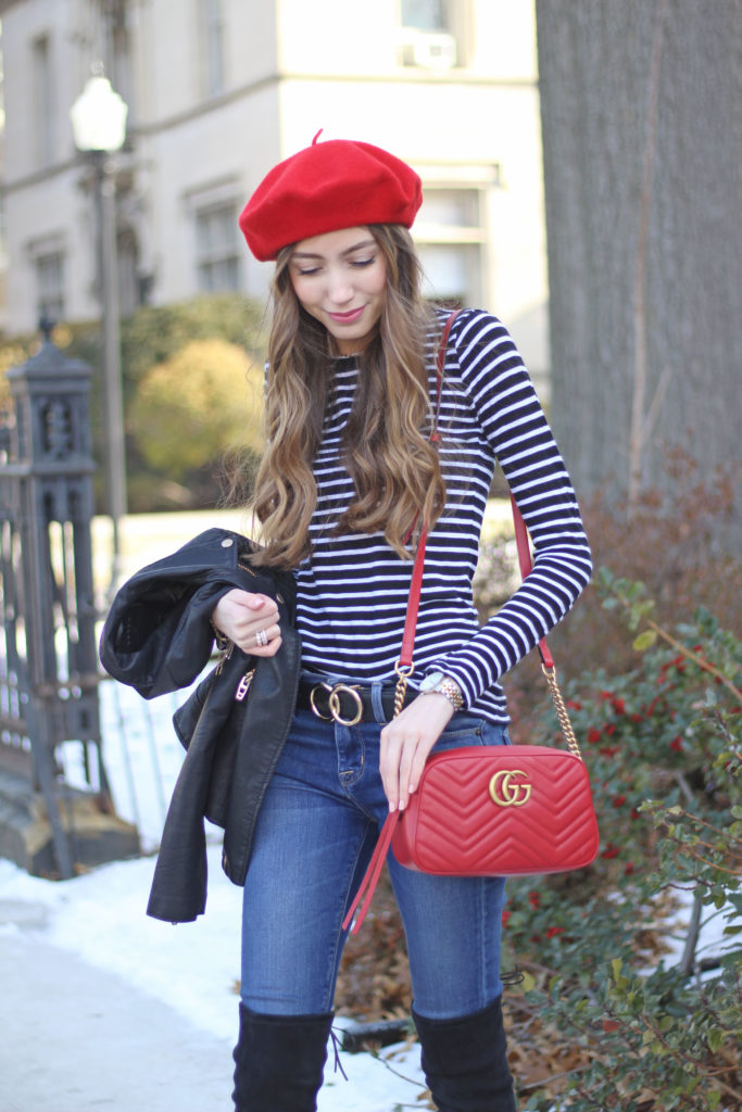 how-to-style-beret-hat-red-gucci-bag-style - Copy