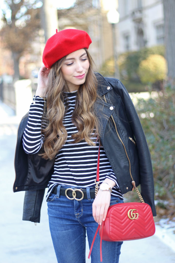 how-to-style-beret-trend-chic-gucci-bag-red-marmont-crossody - Copy